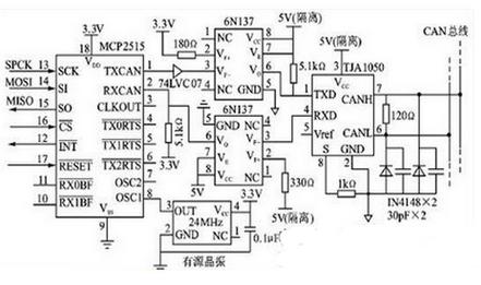 MCP2515多路CAN总线接口电路设计图-文章-技术应用-嵌入式开发